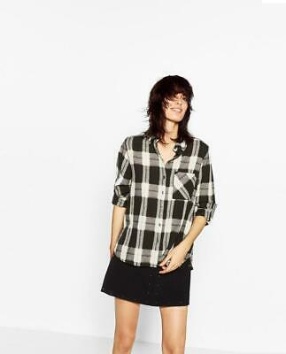 ZARA Black White Buffalo Plaid Shirt top Blouse Flannel large L Camp Button Down