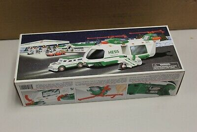 2001 Hess Helicopter with Motorcycle and Cruiser In Box See Pictures