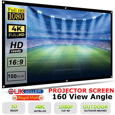 """100"""" Inch HD Projector Projection Screen 16:9 Matte 3D 1080p Home Cinema Theater"""