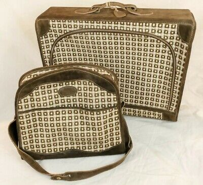 VTG FRENCH CO. Vasarely Luggage set Pullman Suitcase Suede Tweed MId Century MCM