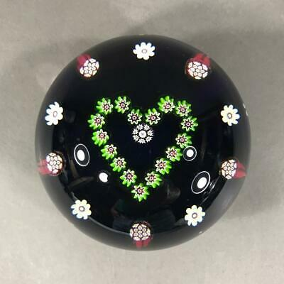 """PAUL YSART Millefiori Heart Paperweight Signed with """"H"""" Cane, Harland Era 1970's"""