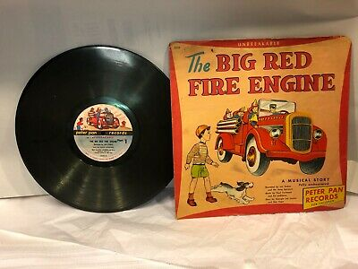 vintage 1949 The Big Red Fire Engine RPM 78, Peter Pan Records (E706)