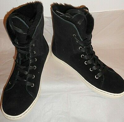c2237f46814 UGG CROFT Luxe Black Soft Suede High-Top Lace-UP Sneaker Boots Size NEW