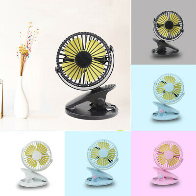 360° USB Clip On Small Personal Fan 3 Speed Portable Home Office Table Desk Tilt