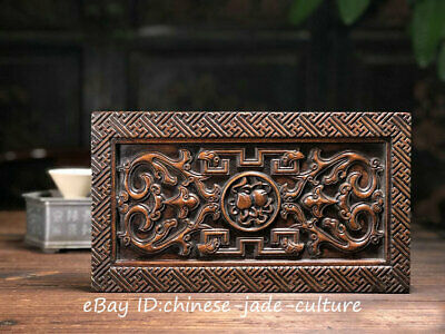 31CM Old Chinese Huanghuali Wood Carved Dragon Gourd Wine Tea Plate Dish Base