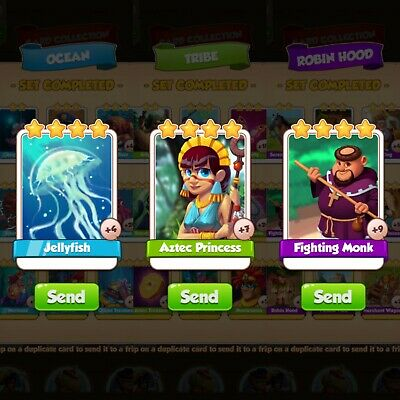 Coin master cards. Aztec princess, jellyfish, fighting monk.  Get all 3
