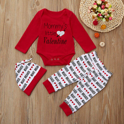 3PCS Newborn Infant Baby Boys Romper+Pants+Hat Valentine's Day Outfits Set CO