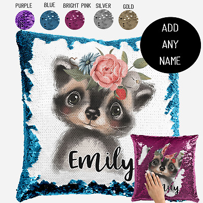 Personalised Baby Woodland Raccoon Sequin Cushion Cover Throw Pillow Gift Name