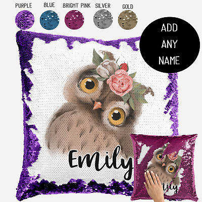 Personalised Baby Woodland Owl Sequin Cushion Cover Throw Pillow Nursery Gift