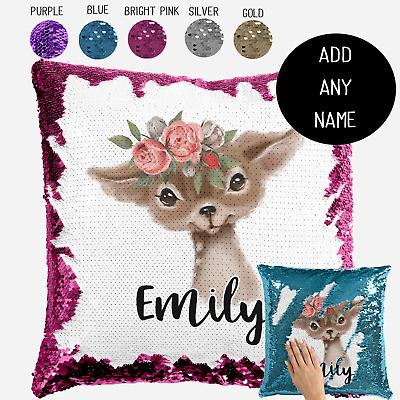 Personalised Baby Baby Deer Sequin Cushion Cover Throw Pillow Nursery Gift