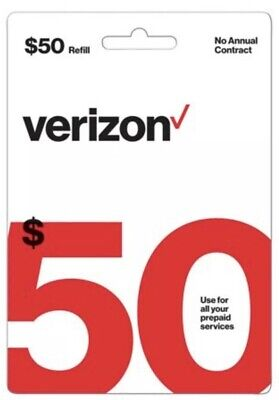 Brand-New $50 Verizon Wireless Prepaid Refill Card (Email Delivery)