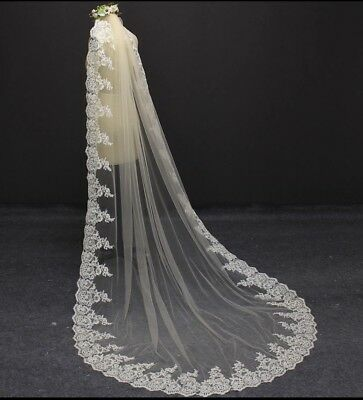 Brides Bridal Champagne Beige Cathedral Veil 1 Tier Soft Tulle Lace Edge Comb