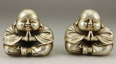 Chinese Old White Copper Handwork Carving Pair Favorite Buddha Monk Statue