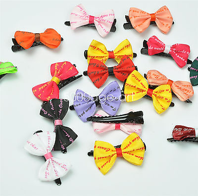 5X 10X  Randomly Girl Hair Clip Ribbon Bow Baby Kids Satin Bowknot Headband #5