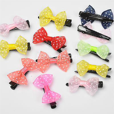 5X 10X  Randomly Girl Hair Clip Ribbon Bow Baby Kids Satin Bowknot Headband #6