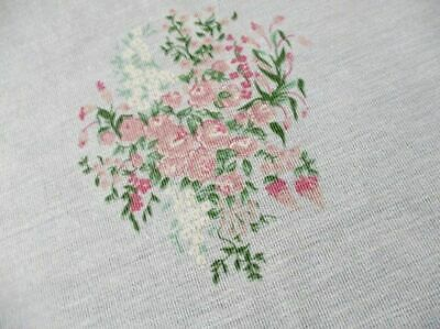 "PRETTY ROUND TABLECLOTH-DECORATED SMALL PINK FLOWERS-64""dia"