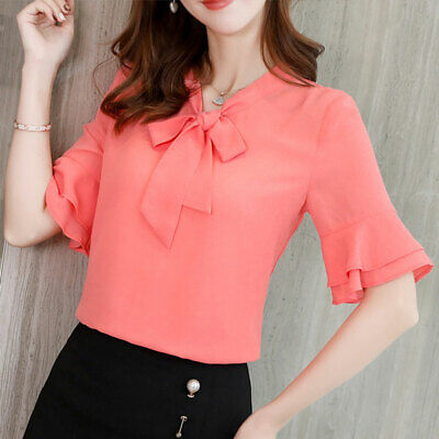 Women Short Sleeve Shirt Top Summer Fashion Chiffon Blouse Loose Ladies T-Shirt