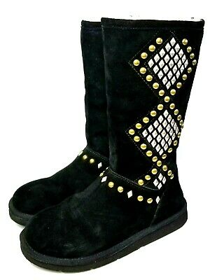 0f85af0a6ee UGG WOMEN'S TALL Studded Boots, Black Suede, Size 9 M US - $65.99 ...