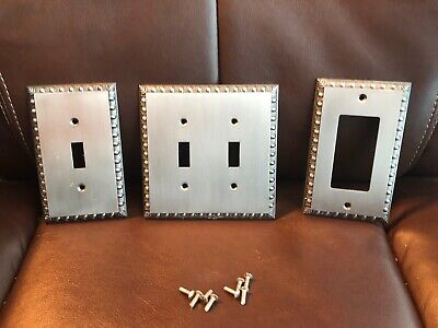Brushed Metal Wall Switch Plates Set of 3 - 1 Double 2 Single 8 Screws