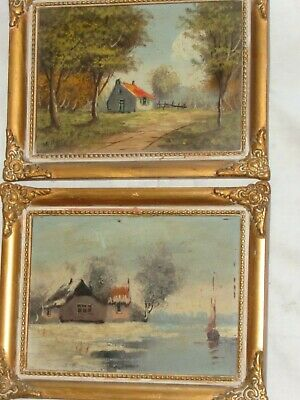 ANTIQUE 19th CENTURY HOMESTEAD LANDSCAPE OIL PAINTING FRAMED SET one signed