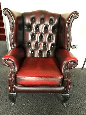 queen anne chesterfield Wing Back Armchair Oxblood Red Vintage Leather Antique