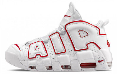 Nike Air More Uptempo Bianco Rosso Shoes 100% Original - NIKE UPTEMPO White Red
