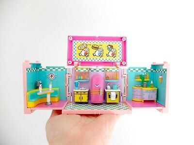 Polly Pocket Dream Builder Mansion Retro Kitchen, Stackable, Vintage Bluebird