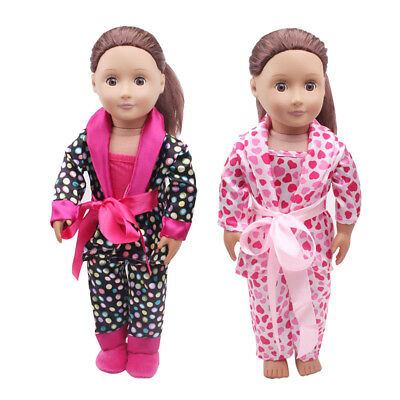 5pcs Clothes Shoes for 18inch American Girl Our Generation Dolls Pajamas Set