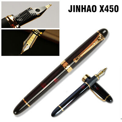 Black with Fireworks Fountain Pen 0.7mm Broad Nib 18KGP Golden Trim Jinhao X450