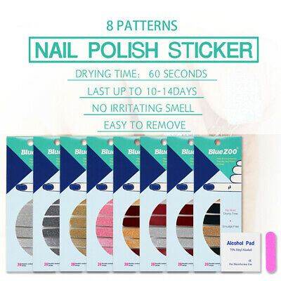 20Tips Glitter Nail Stickers Patch Environmentals Nails Foils Polish Wraps TB