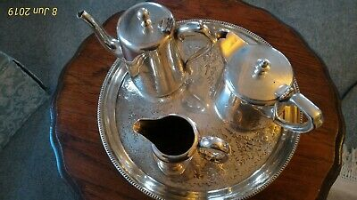 Elkington Silver Plated Teapot Milk Water Jug with Walker & Hall engraved tray