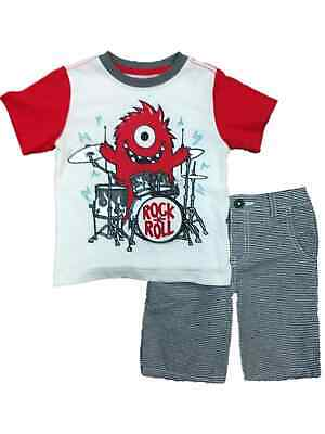Toddler Boys Rock & Roll Drummer Monster Baby Outfit Shirt & Shorts Set