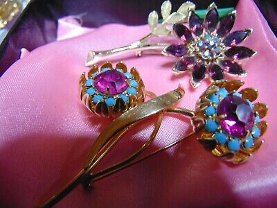 Highend Vintage 2 Piece Costume Rhinestone Signed and Unsigned Brooch LOT