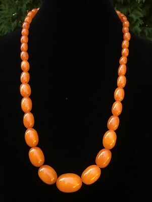 Beautiful 67g Chinese Tested Genuine Honey Butterscotch Amber Bead Necklace 14k