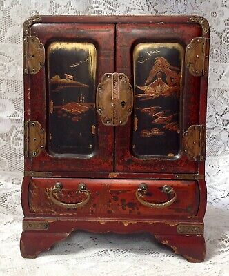 Antique Chinoiserie Jewellery Box, Cupbaord, Laquered And Hand Painted
