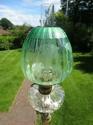 Antique Victorian Green Acid Etched Parafin Kerosene Oil Lamp Duplex Shade