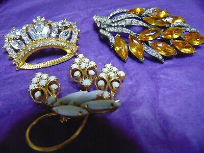 Highend Vintage 3 Piece Costume Rhinestone 2 Signed and 1 Unsigned Brooch LOT