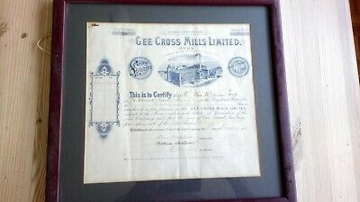 1917 F&G GEE CROSS MILLS Limited Hyde Cheshire, share certificate 37 x 35cm