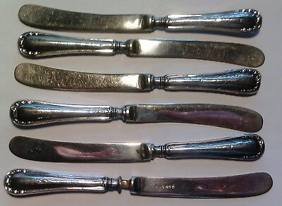 England set of 6 butterknives in silver Sheffield 1915