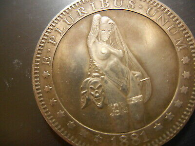 Long Hair Beauty GRIM REAPER Collecting Mans Soul Hobo Nickel Style Fantasy Coin