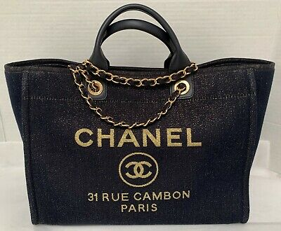 5806ed5d4 CHANEL NAVY CANVAS Large Deauville Shopping Bag - $4,885.00 | PicClick