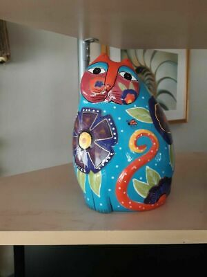 "Signed Hand Painted Laurel Burch by Ganz  ""Blue""  8""  Cat  Figurine"