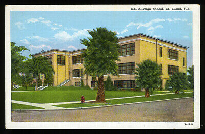 Florida Postcard: Early View Of Sc 3 High School In St. Cloud, Florida