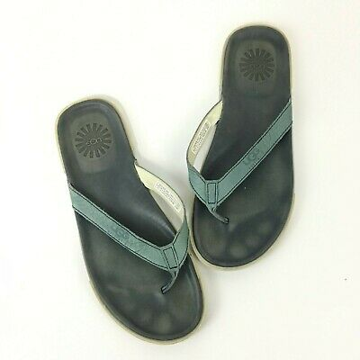 a409f49ffbd UGG AUSTRALIA BENNISON Men Black Leather Flip Flop Sandals Size 11 ...