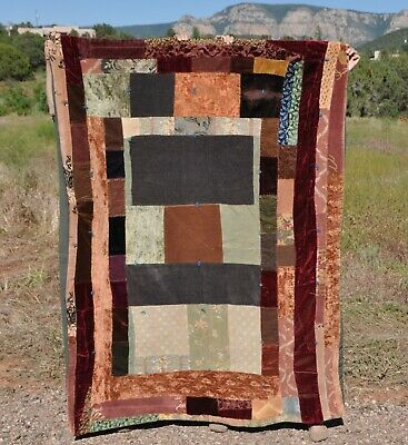 Antique Patchwork Quilt Buggy Carriage Blanket Velvet Plush Embroidered  70 x 51