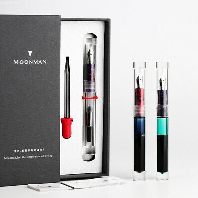 2019 Moonman C1 Transparent Clear Fountain Pen Eyedropper Converter Ink Pen