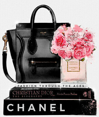 Canvas Print Coco Chanel Flowers Bag Book Street Art Wall Decor Abstract Prints