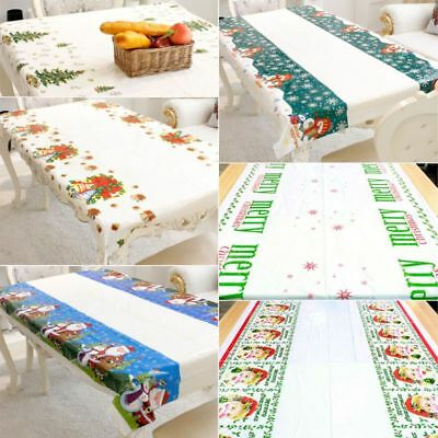 Christmas Cartoon PVC Waterproof Table Cloth Rectangular Cover Party Decoration