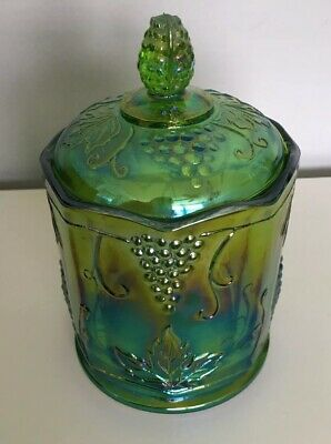 Indiana Glass Co # 1216 Harvest Candy Jar & Lid Green Iridescent Carnival Glass