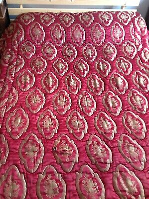 Vintage French Double Floral Quilt Kantha Throw Cotton Wool Quilted Red & Gold